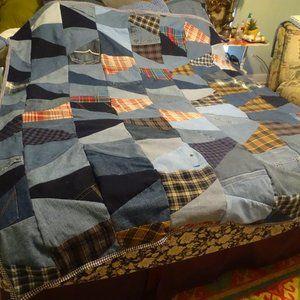 "Primitive denim&flannel quilt Tumbler  66"" x 67"""